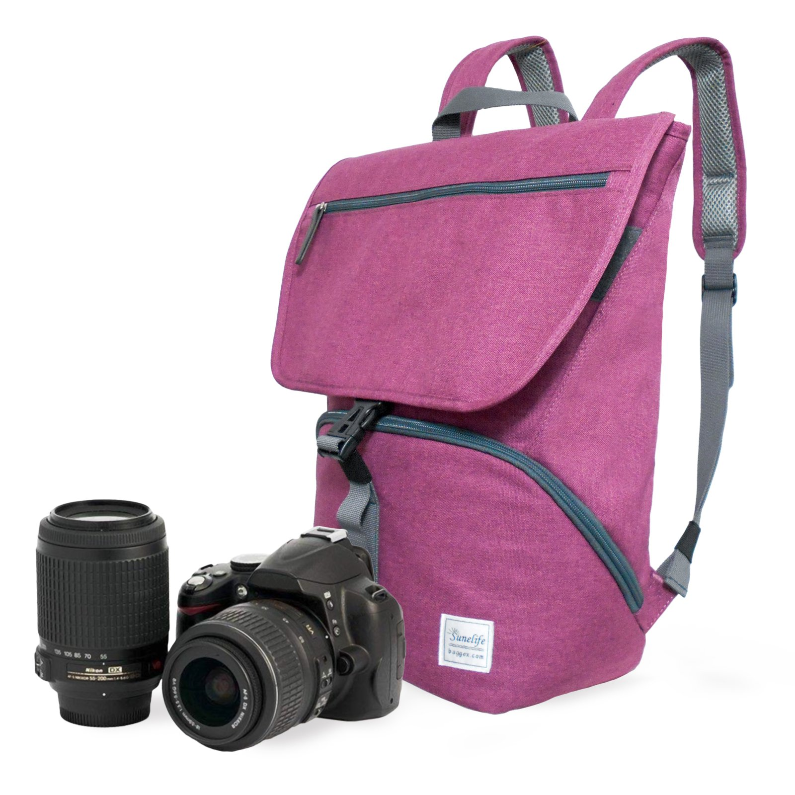 Stylish Melange Fabric Camera Backpack to carry a DSLR Camera, 1 standard zoom lens (3. Purple) by Baggex Store