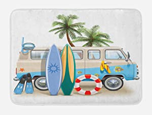 "Lunarable Surf Bath Mat, Surfing Weekend Concept with Diving Elements Fins Snorkeling and Van Trip Relax Peace, Plush Bathroom Decor Mat with Non Slip Backing, 29.5"" X 17.5"", Blue Yellow"