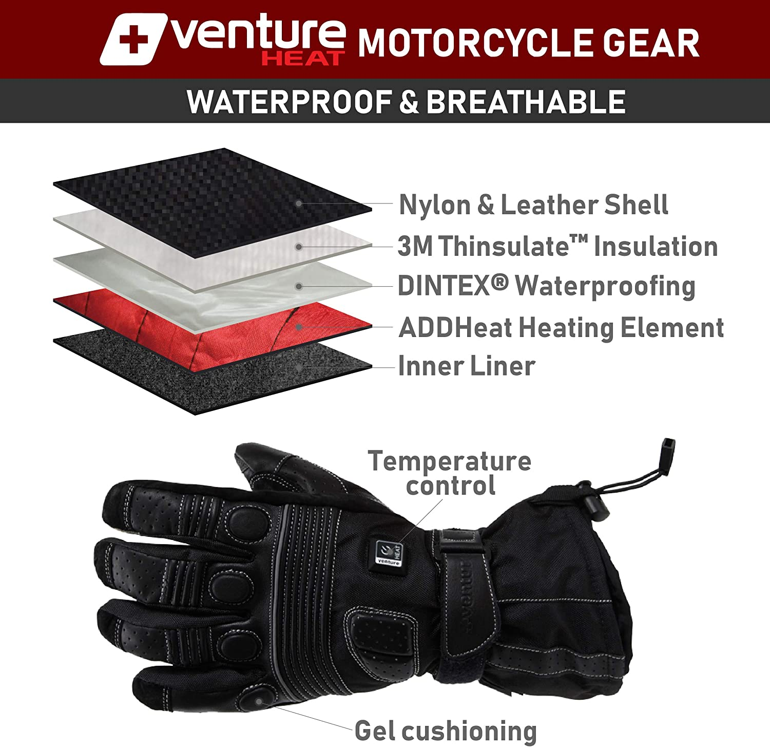Gerbing Mens G4 12V Heated Gloves for Motorcycle Water-Resistant Leather