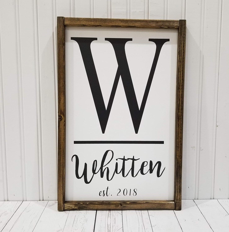 Amazon Com Monogram Last Name Wedding Established Date Sign Farmhouse Sign Rustic Decor Fixer Upper Style Handmade