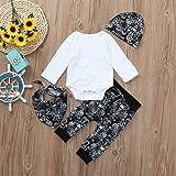 Newborn Baby Solid Romper Tops Print Pants Cap Bibs Halloween Outfits Clothes Set