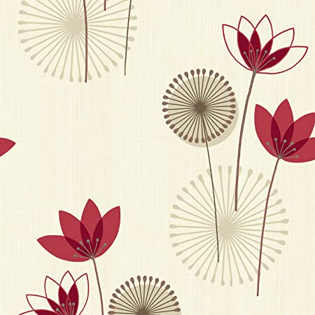 Red cream 75460 akina floral k2 holden decor wallpaper