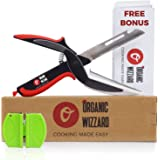 Organic Wizzard Kitchen Knife with Cutting Board and Sharpener, 5 in 1 Universal Scissors Food Chopper ,Slicer, Cutter, Dicer for Vegetables Fruits Meat and Cheese [Upgraded Version]