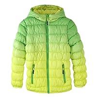 Girls Puffer Hooded Jacket - Krumba Girl's Zip Front Gradient Waterproof Dip Dye Jacket