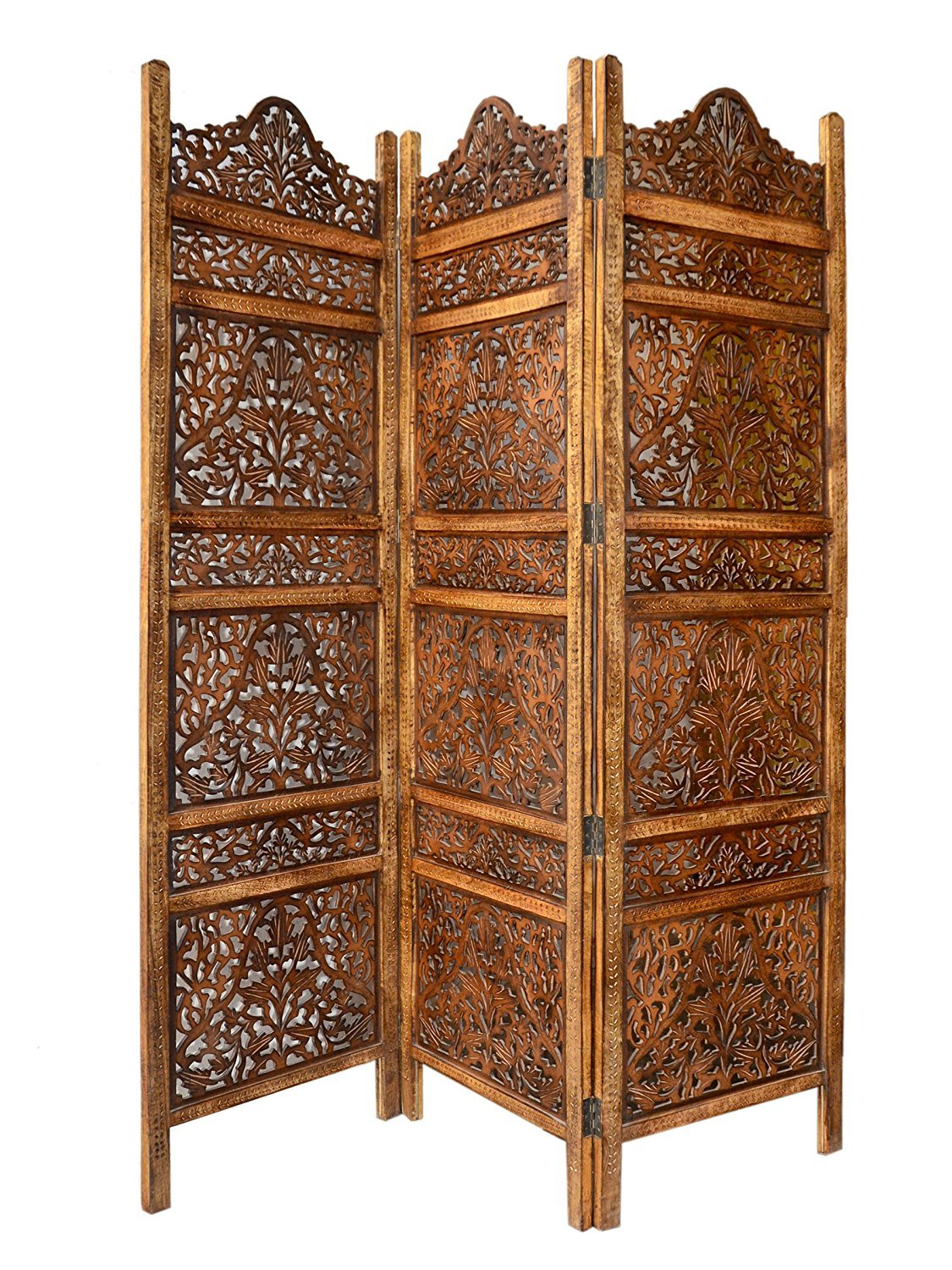 Artesia Wooden 3 Panel Carving Room Divider Wooden Partition by Artesia