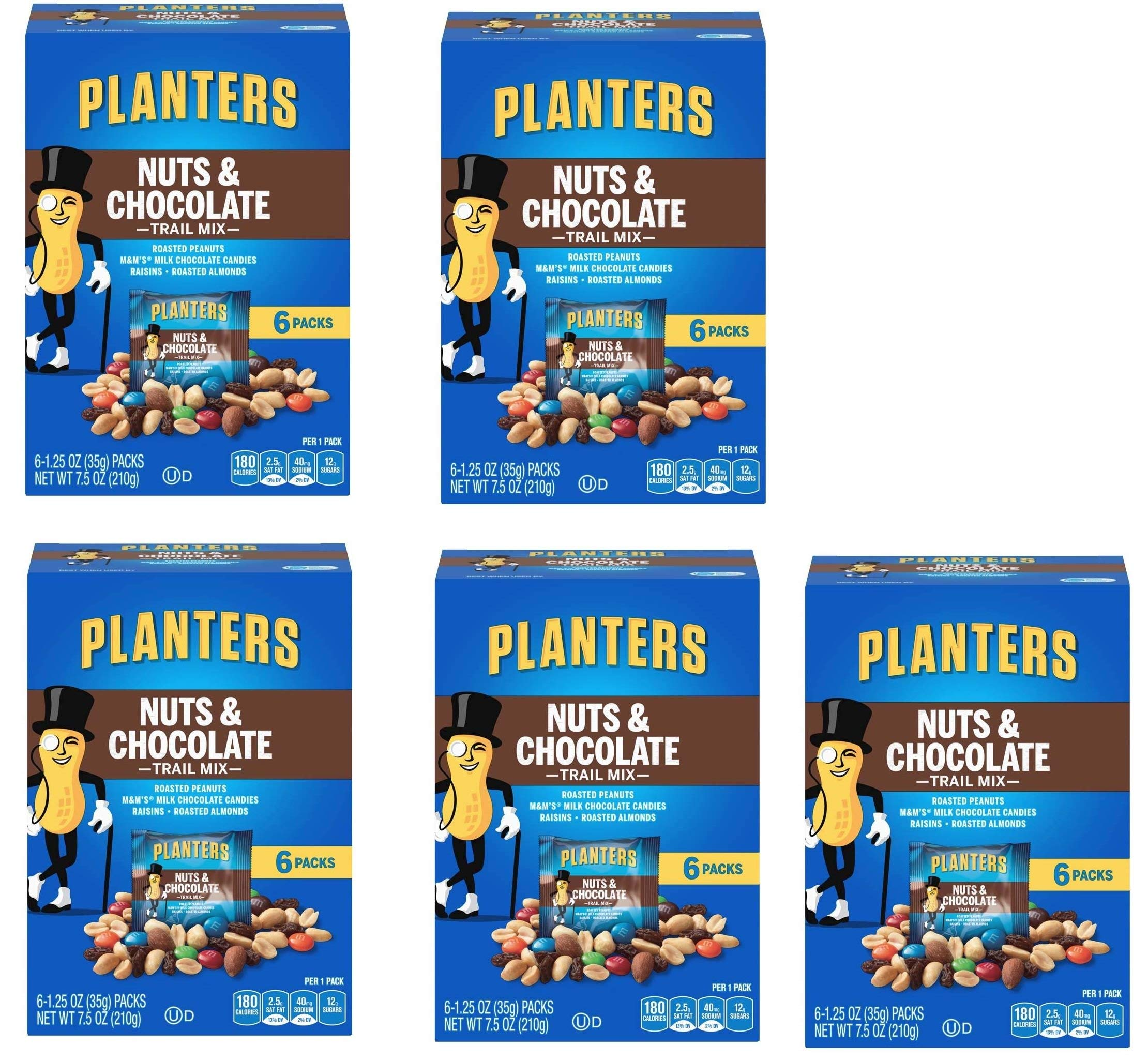 Planters Trail Mix, Nuts and Chocolate MandMs (Pack of 5)