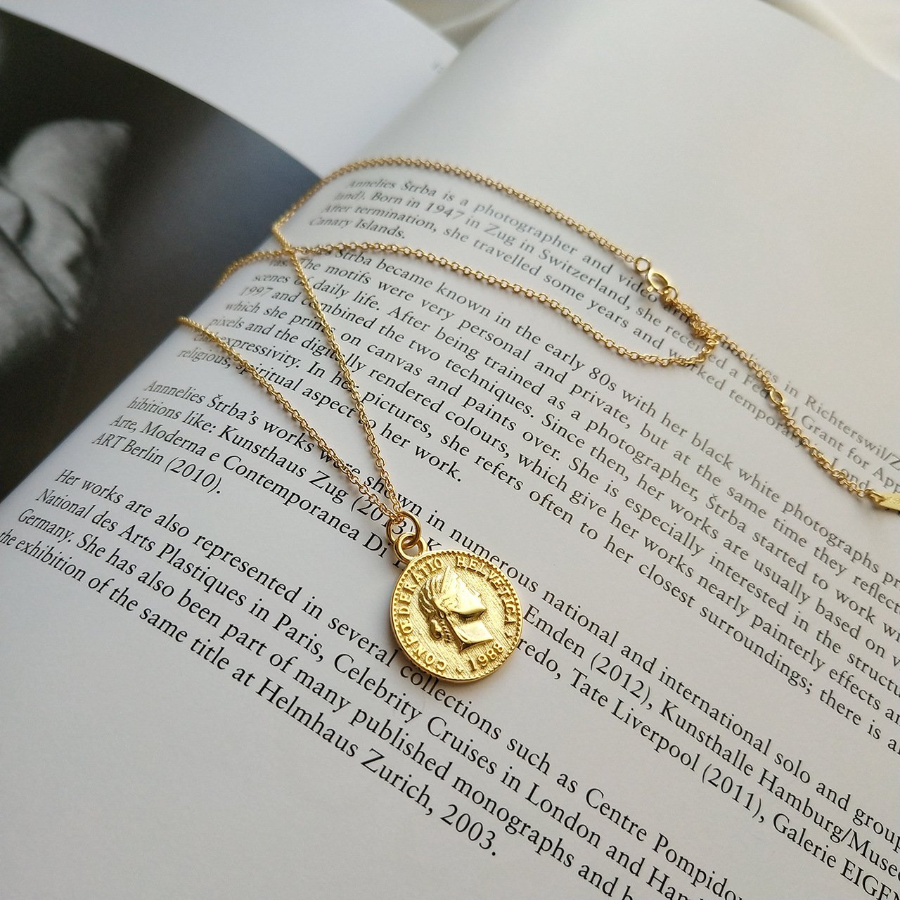 925 Sterling Silver Chain Necklace Jewelry Charm Gold Coin Pendent Simple Delicate Chic Fashion by yomee (Image #2)