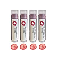 Tinted Lip Balm by Sky Organics - 4 Pack Plum Color - With Beeswax, Coconut Oil,...