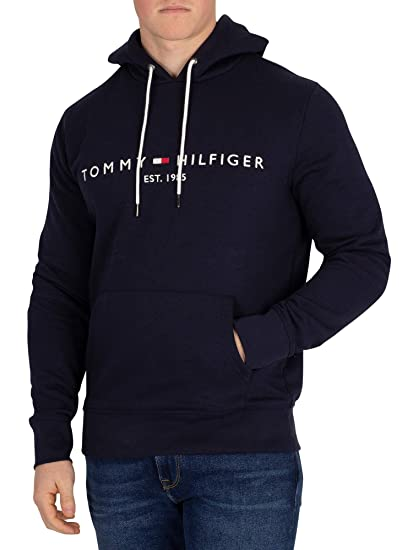 4ade1f22c4dae Tommy Hilfiger Men's Logo Pullover Hoodie, Blue at Amazon Men's ...