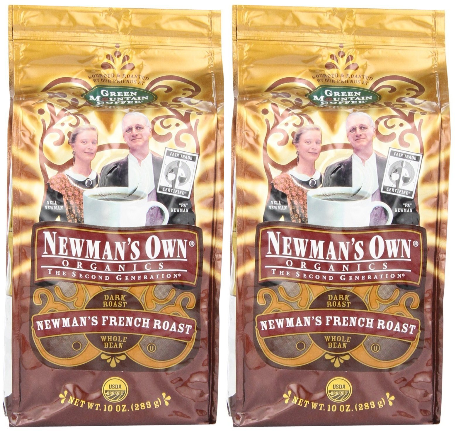 Newman's Own Coffee Whole French Roast, 10 Oz (Pack of 2) by Newman's Own