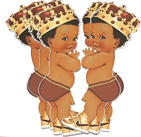 Royal Birthday Baby Shower African American Prince Decor ArtPaperWonders Gold Prince Party Cut-Outs 5 inches Tall