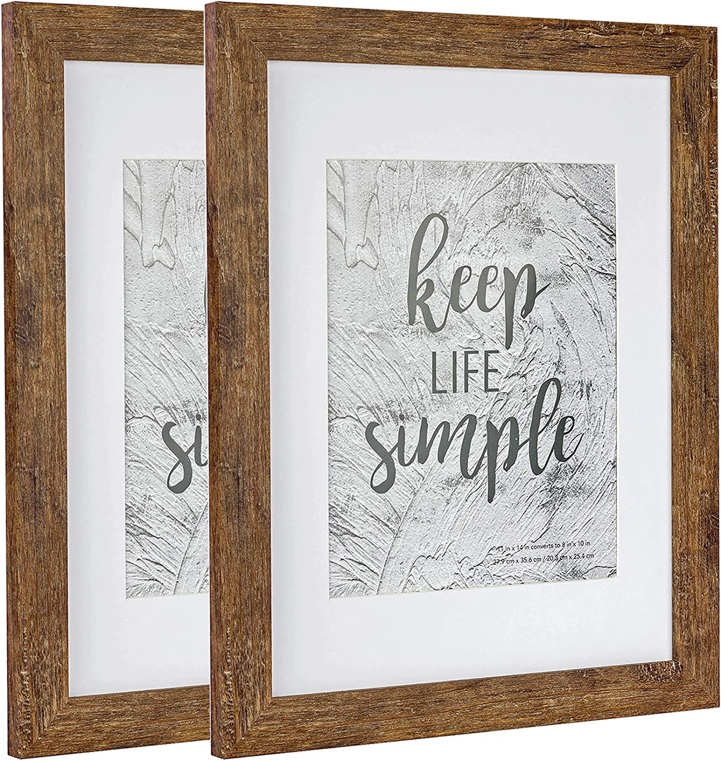 Home&Me 11x14 Rotten Brown Picture Frame 2 Pack - Made to Display Pictures 8x10 with Mat or 11x14 Without Mat - Wide Molding - Wall Mounting Material Included