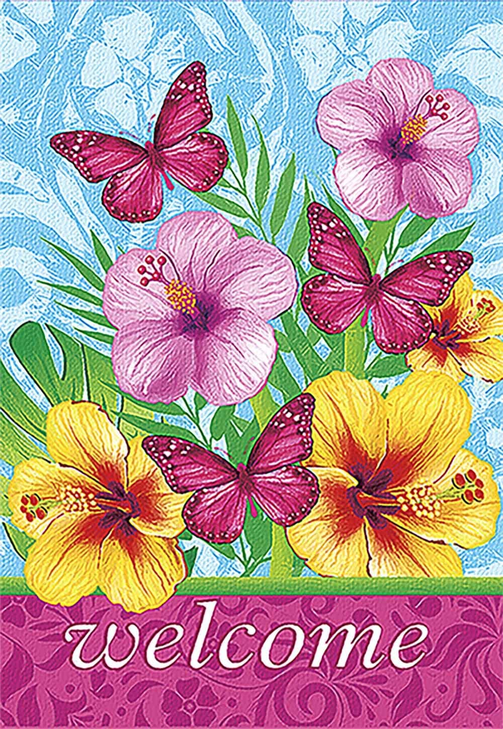 Morigins Welcome Fabulous Flowers Decorative Spring Double Sided Garden Flag 12.5x18 inch