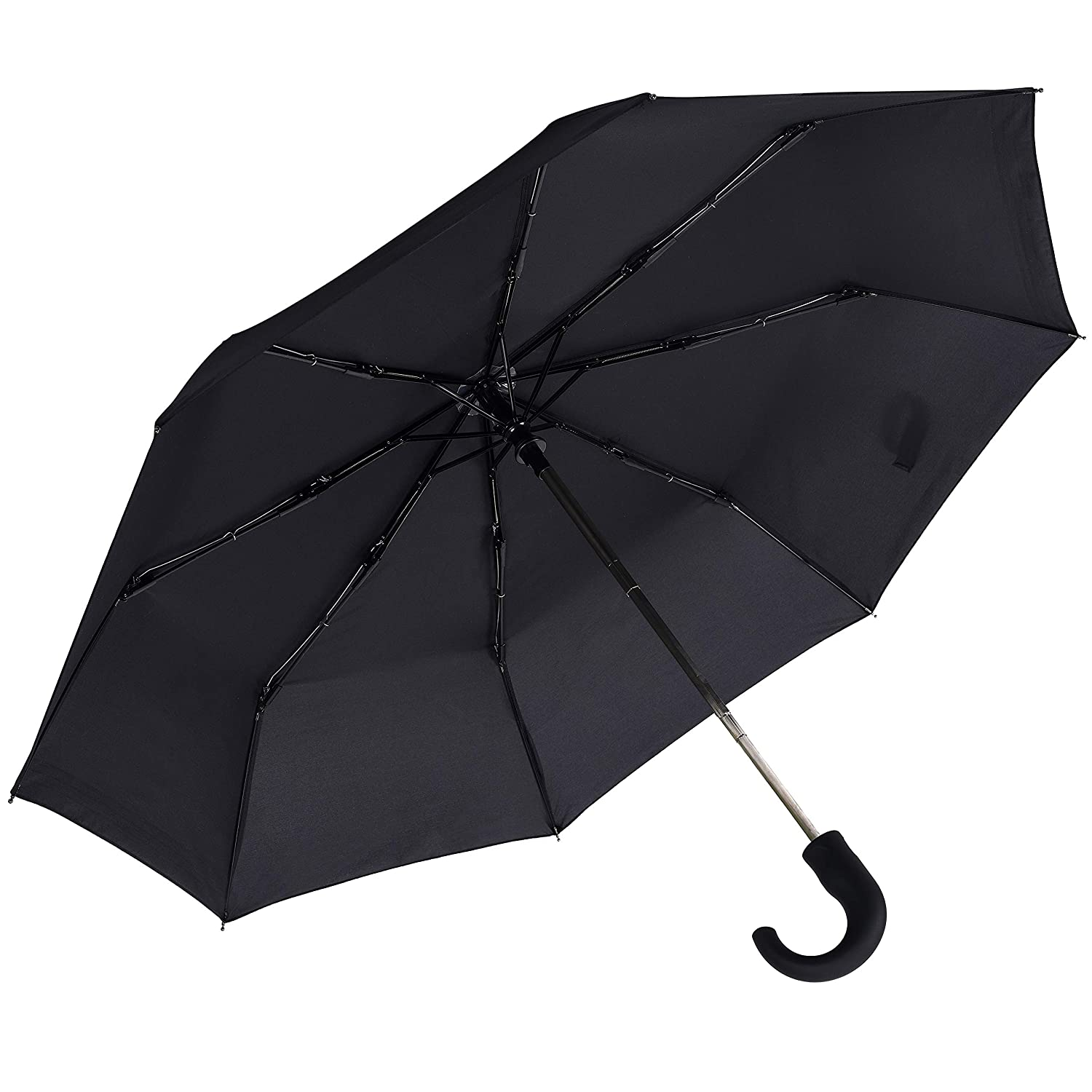 Black Mens Umbrella,Rainbrace 42 Inches Windproof Compact Folding Umbrella Auto Open & Close with Crook Handle
