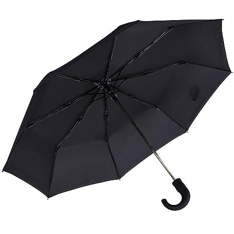 Paraguas Rainbrace Plegable, Negro, Paraguas para Hombre, Apertura Automática, Fuerte Resistente al