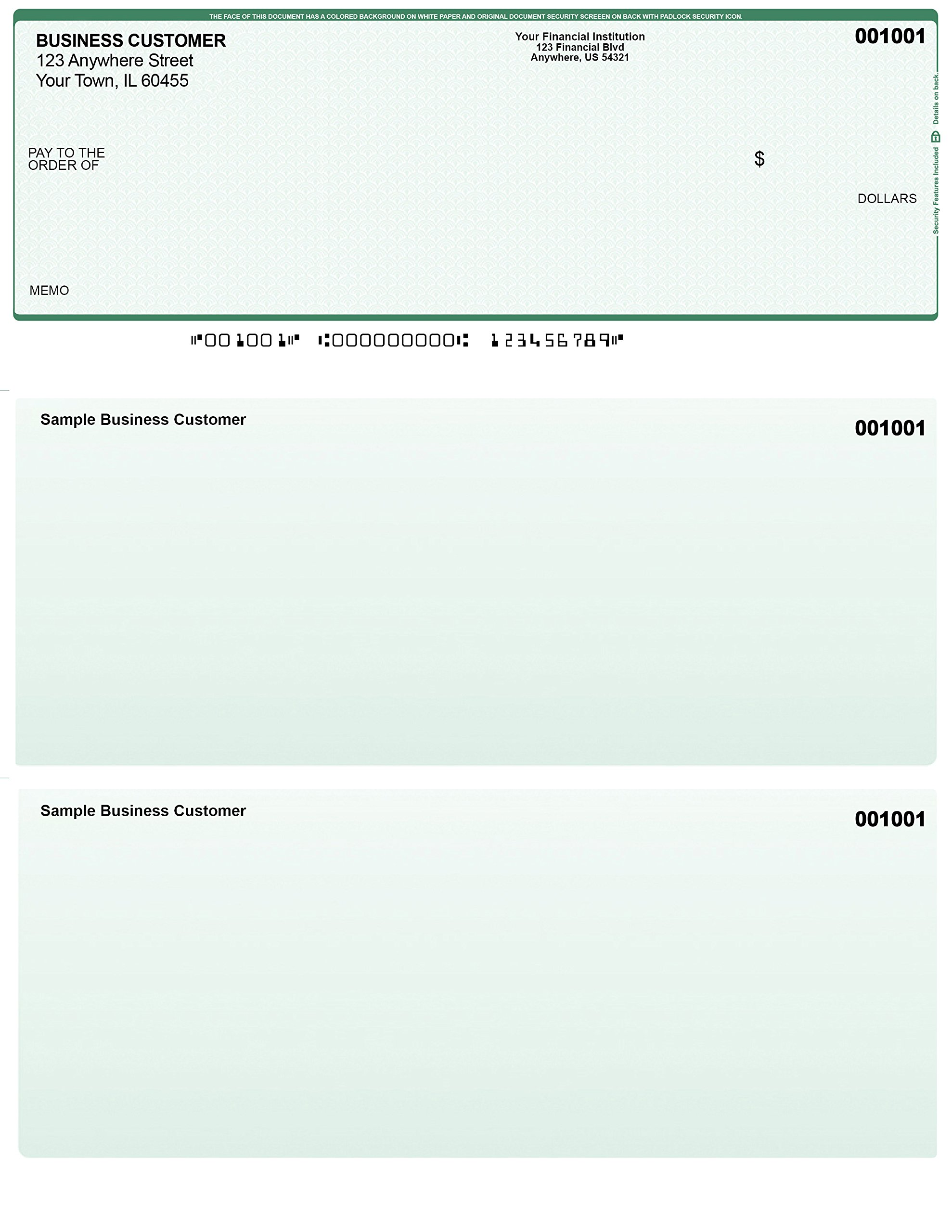 Green Safety Computer Checks - 500 Printed Laser Computer Voucher Checks - Compatible for Quickbooks by Carousel Checks Inc.
