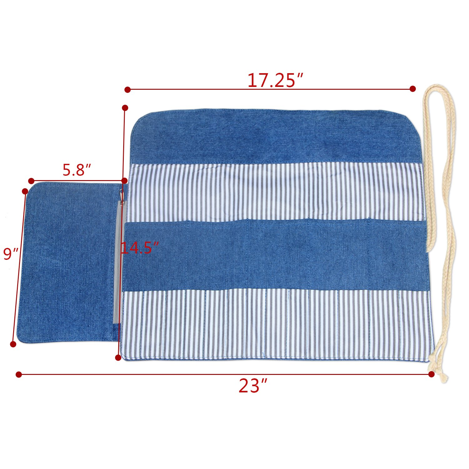 Luxja Knitting Needles Organizer, Rolling Bag for Knitting Needles (up to 10 Inches), Crochet Hooks and Accessories (No Accessories Included), Blue by LUXJA (Image #6)
