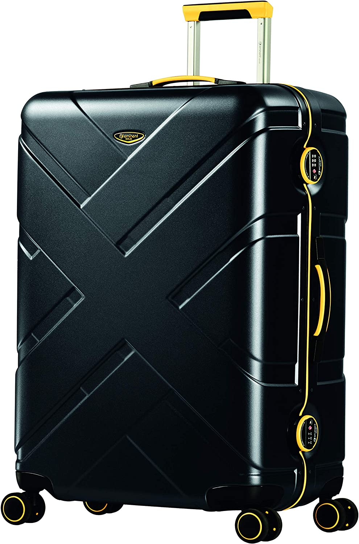 Eminent Gold Maleta Crossover 77 cm 103 L Policarbonato & Marco de Aluminio rígido 4 Ruedas giratorias 360° Negro/Amarillo