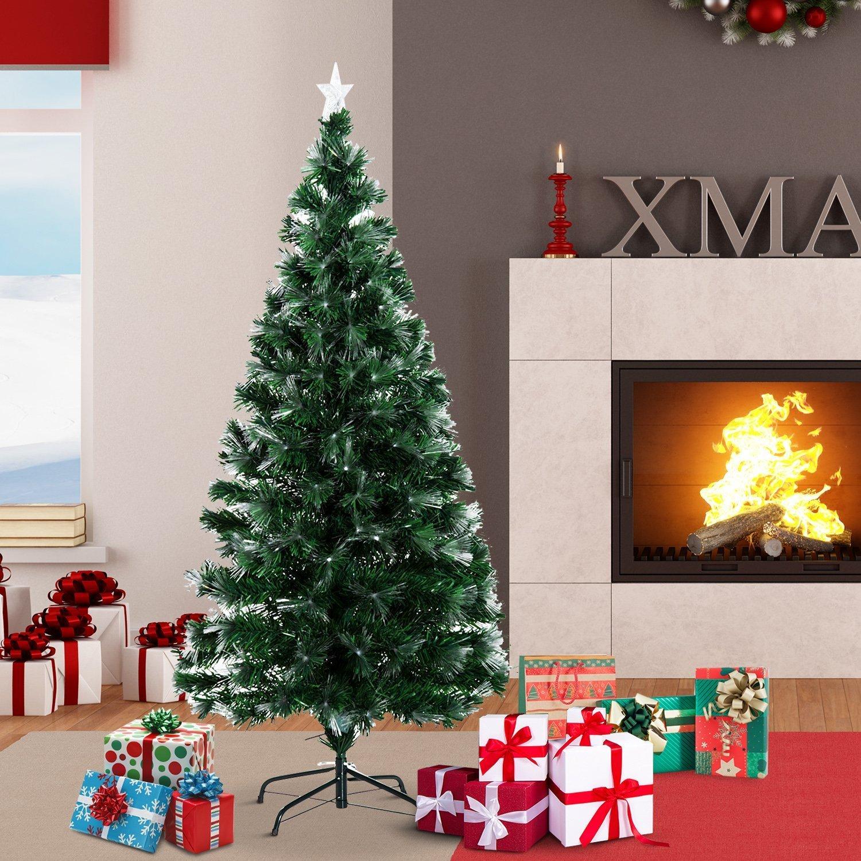 Homcom Arbol de Navidad Altura 150 cm + Estrella y 180 Luces LED Arboles Fibra Optica