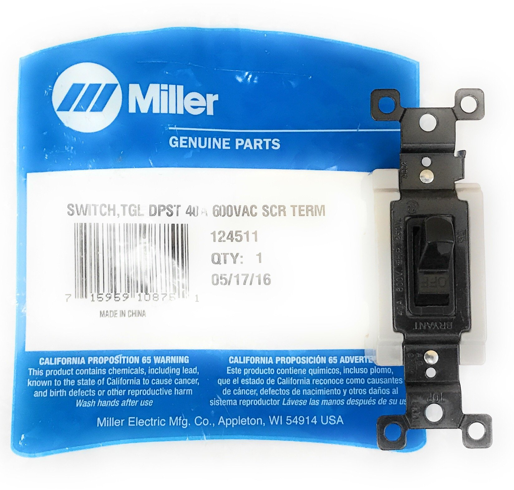 124511 Miller Toggle Switch 40 Amp 600 VAC