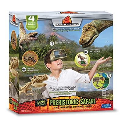 Virtual Explorer Prehistoric Safari 4-in-1 VR, AR, hands-on play and learning system with Dino Excavation Kit, VR Goggles and App, Augmented Reality cards and Explorer Guide: Toys & Games