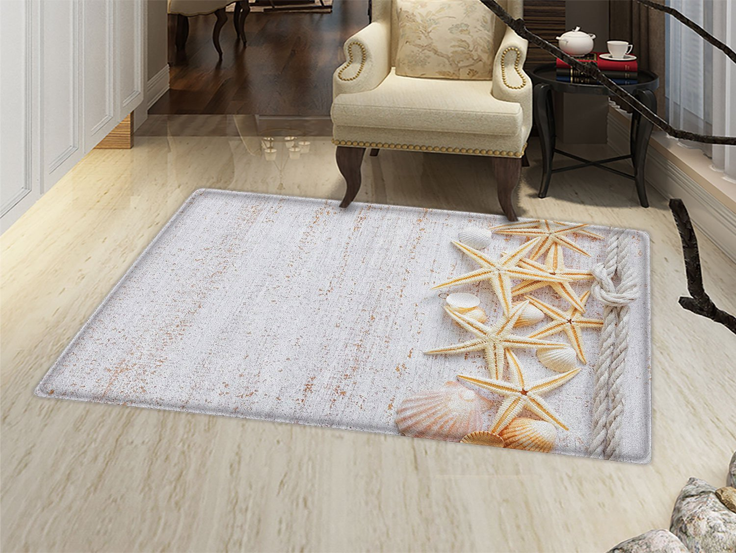 smallbeefly Seashells Bath Mats Carpet Seashells and Starfish with Navy Rope in Vertical Direction Wood Surface Ocean Beach Floor Mat Pattern Ivory