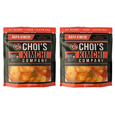 (2) 14 oz. Spicy Napa Cabbage Kimchi [Vegan, Gluten Free, Non-GMO, Probiotic] by Choi's Kimchi Co. Made in USA. : Grocery & Gourmet Food