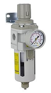 "PneumaticPlus SAW4000M-N04BG Compressed Air Filter Regulator Combo Piggyback Style 1/2"" NPT - Manual Drain, Poly Bowl, 10 Micron with Gauge"