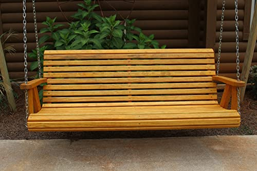Ecommersify Inc ROLL Back Amish Heavy Duty 800 Lb 4ft. Porch Swing – Cedar Stain – Made in USA