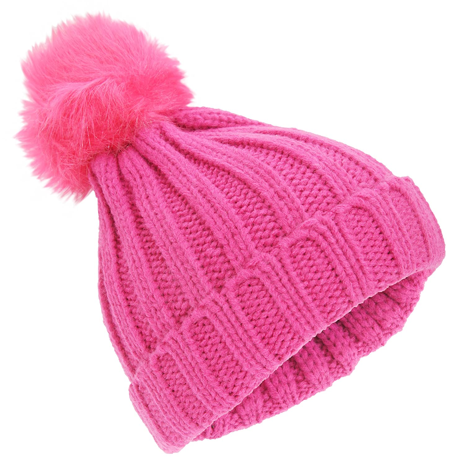 Universal Textiles Childrens Girls Rockjock Cable Knit Faux Fur Pom Pom Winter Beanie Hat UTHA526_1