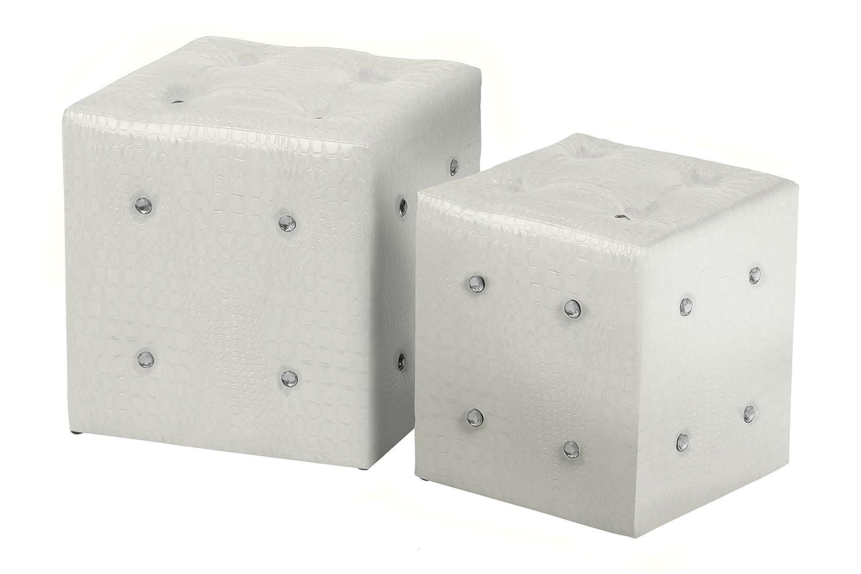 Premier Housewares 2403328 Set di 2 Sgabelli in Effetto Pelle Coccodrillo, Bianco con Dettaglio in Diamante