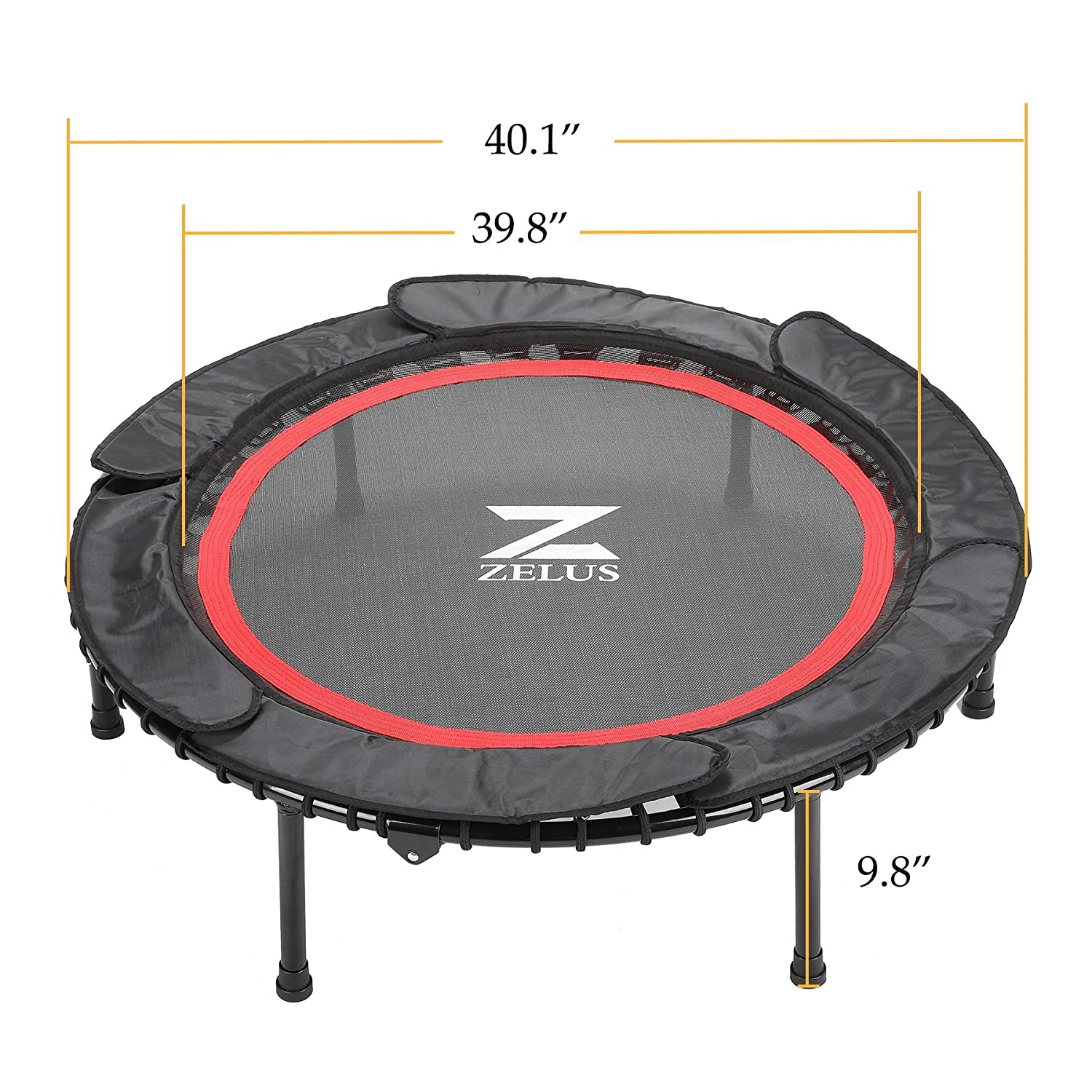 """ZELUS 40/"""" Foldable Mini Trampoline Bungee Rebounder Trampoline for Adults /& Kids w//Safety Bungee Cover /& Textured Jump Mat Safety /& Minimal Assembly"""