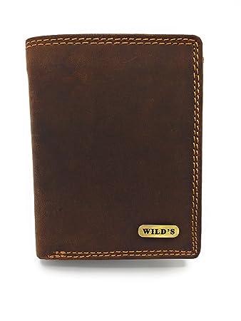 Herrengeldbörse Portemonnaie Geldbörse Wild Voll Leder Brieftasche Hochformat