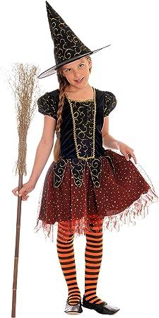 Magicoo Disfraz de Bruja para niña, Color Naranja, Negro y Dorado ...