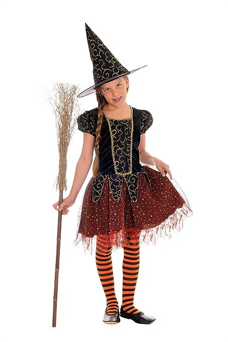 Magicoo Disfraz de Bruja para niña, Color Naranja, Negro y ...