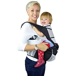 Baby Carrier Hip Seat Sling by Nimnyk Best Safe Backpack Carriers Back Pain Support (Pearl Black)
