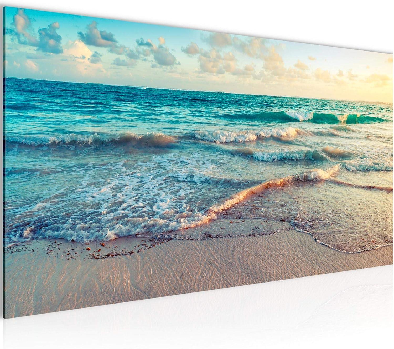 Imagen de mar de playa cuadro de fieltro – lienzo XXL formato pared imágenes de salón vivienda decoración impresiones de color azul 1 pieza – Fabricado en Alemania – listo para colgar 015512a