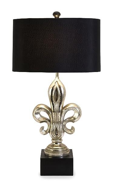 Adorable Fleur De Lis Lamp In Metallic Black And Silver Finish