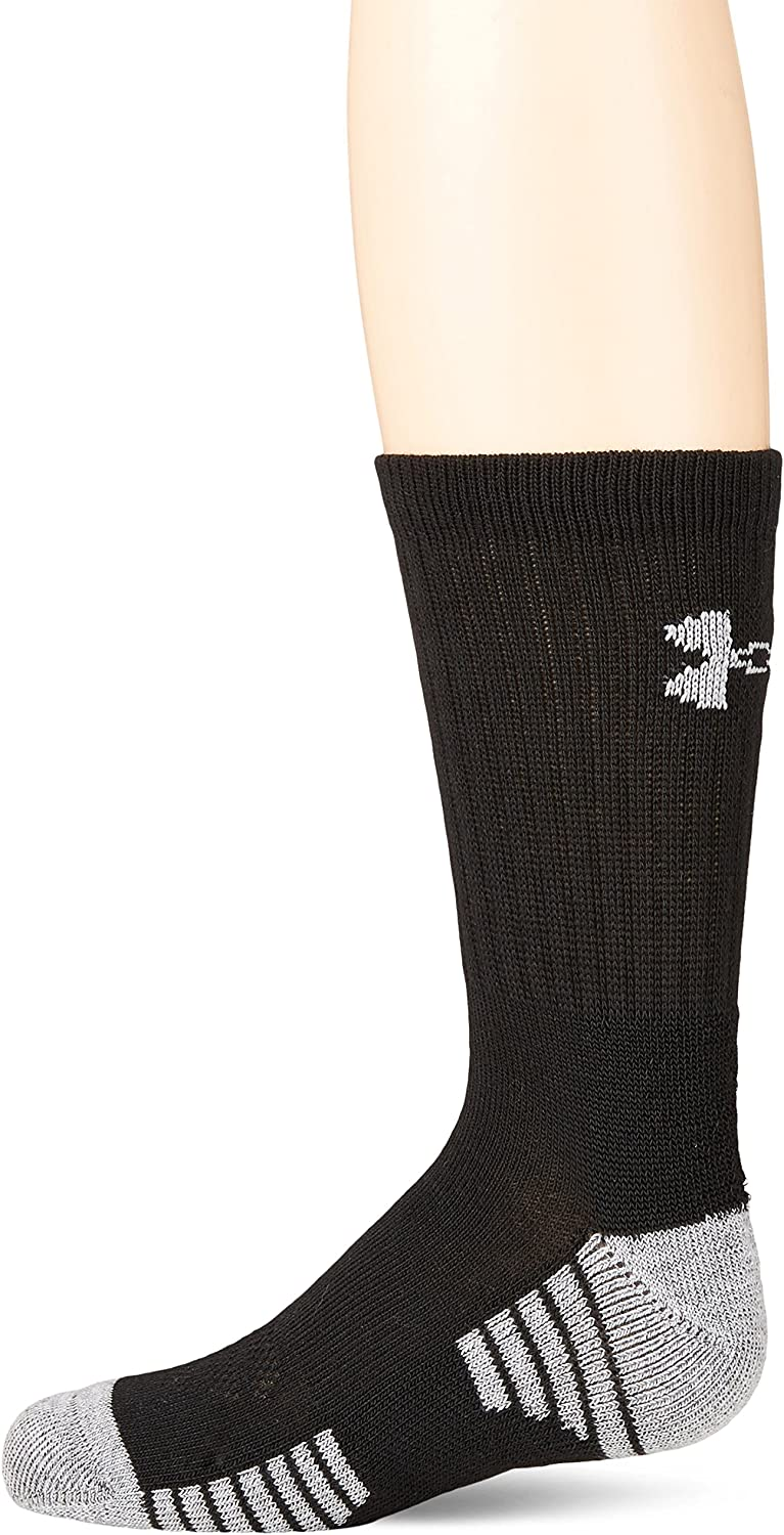 Under Armour Youth Heatgear Tech Crew Socks, 3-Pairs , Black , Youth Large