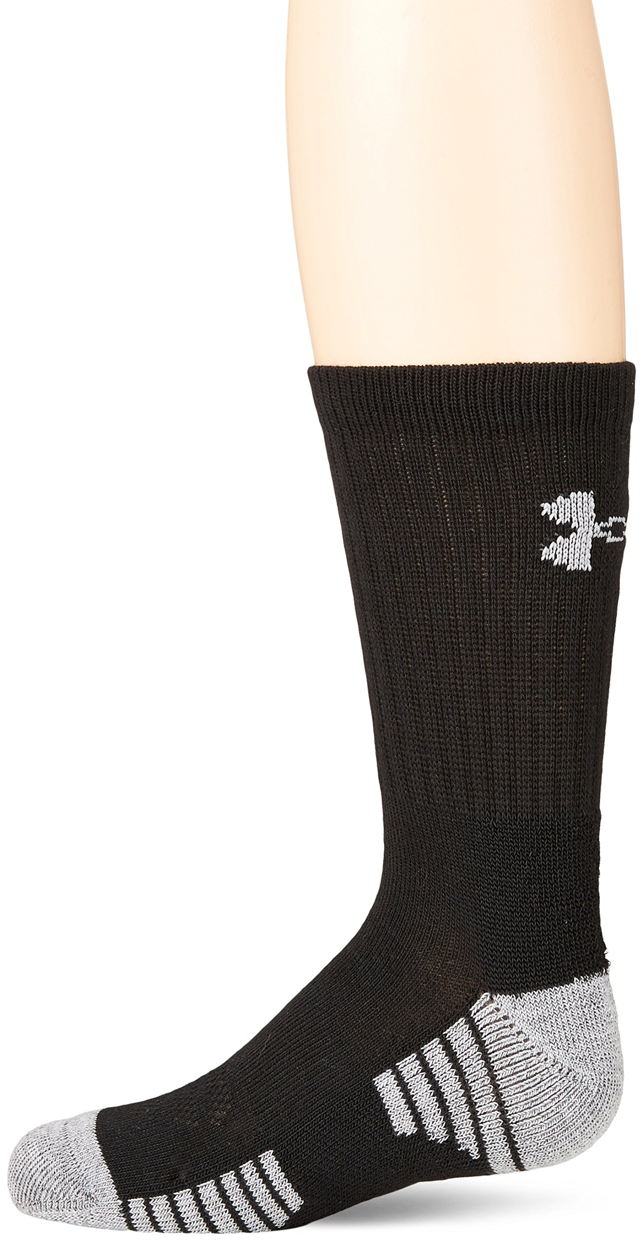 Under Armour Boys Heatgear Tech Crew Socks, Black, Youth Large, 3- Pairs by Under Armour