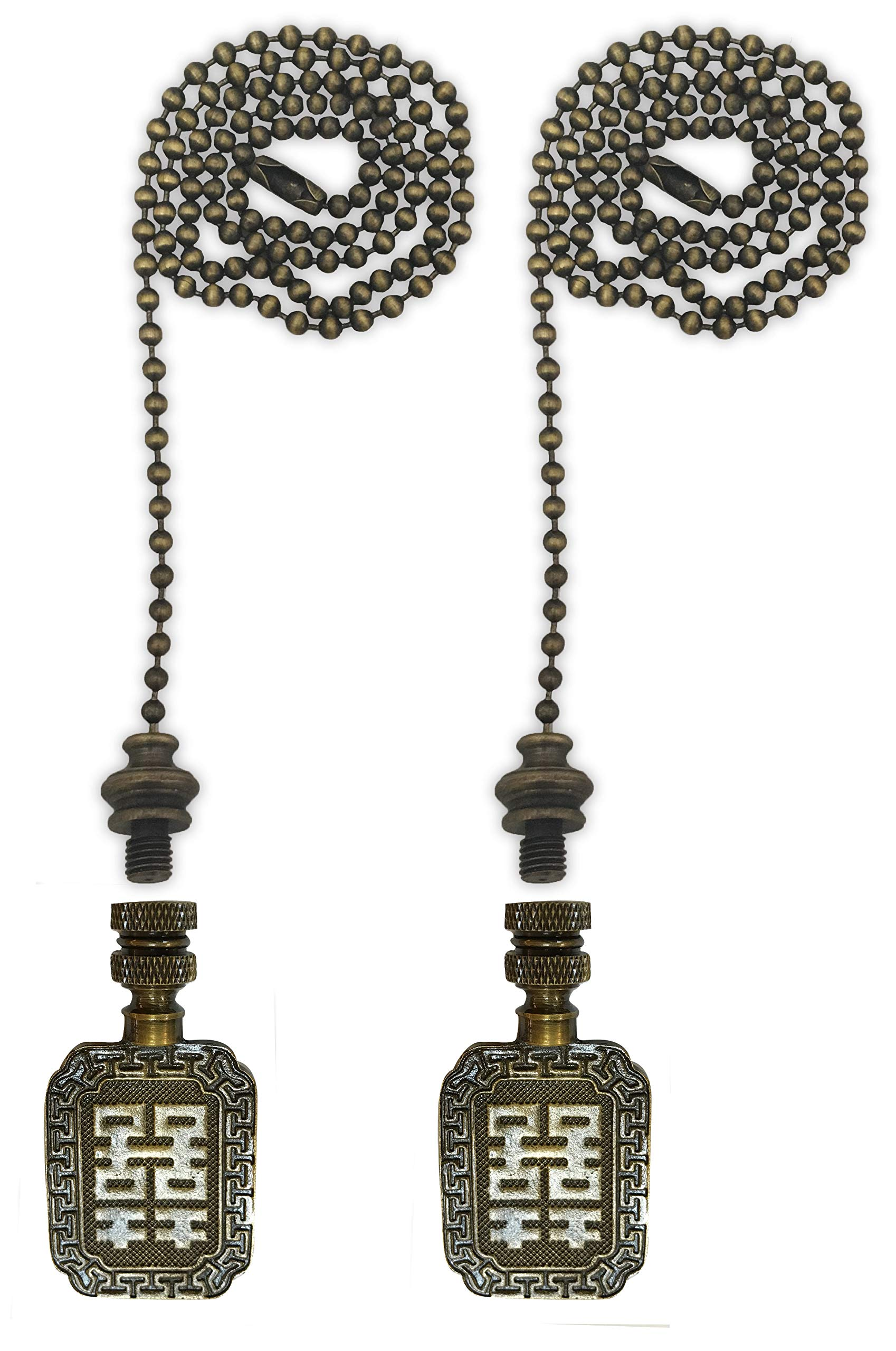 Royal Designs Fan Pull Chain with Chinese Joy Symbol Finial - Antique Brass - Set of 2