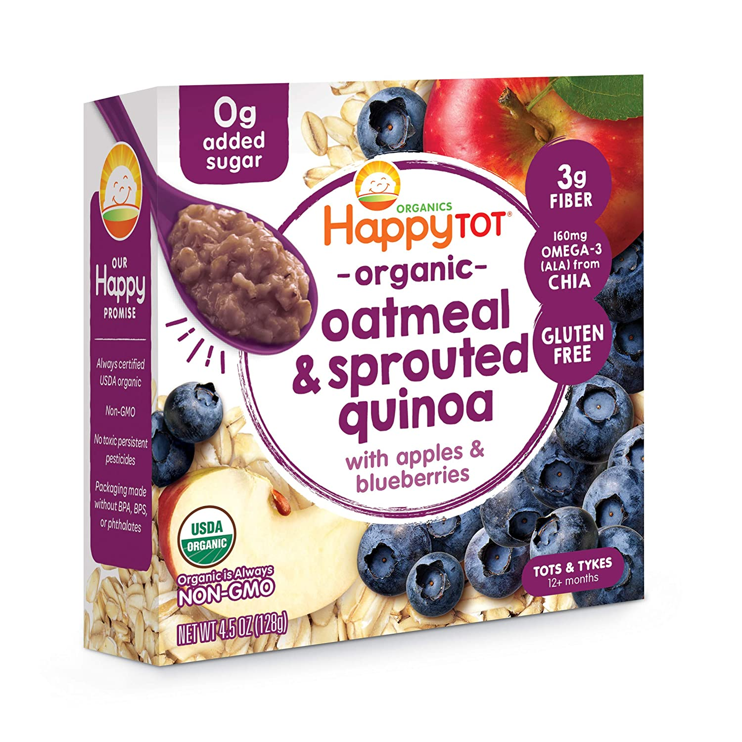 Happy Tot Super Morning Oatmeal Bowls Organic Toddler Food Apples and Blueberries, 4.5 Ounce Bowls (Pack of 8) (Packaging May Vary)