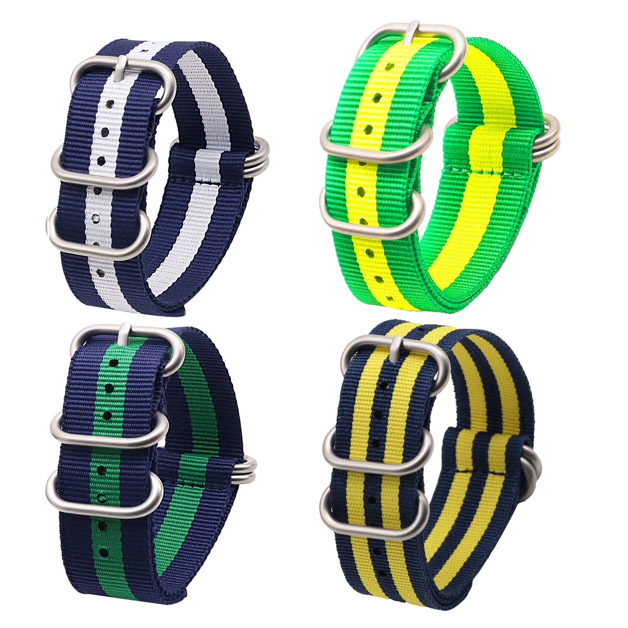 22mm Ballistic Nylon Watch Band with NATO Design 4 Pack by autulet (Image #1)