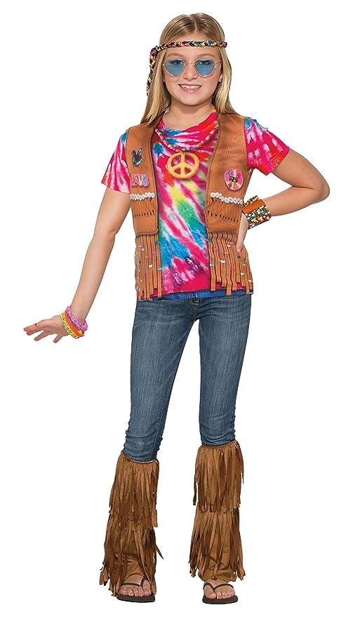 60s 70s Kids Costumes & Clothing Girls & Boys Forum Novelties Kids Hippie Costume Multicolor Small $18.32 AT vintagedancer.com