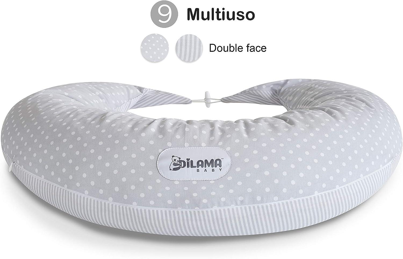 coussin de positionnement lat/éral blanc avec grille grise coussin de positionnement pour b/éb/é XXL pr/égnancy Pillow Oeko-Tex coussin de grossesse Coussin dallaitement