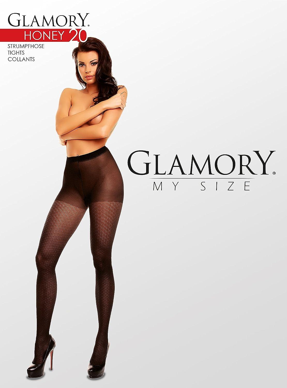 3XL Glamory Honey 20 gemusterte Feinstrumpfhose bis Plus Größe 58 50520 Waben
