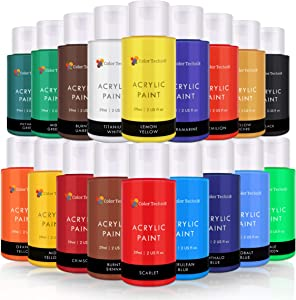 Color Technik Acrylic Paint Set, Artist Quality, Large Set - 18x59ml (2-Ounce) Bottles, Best Colors for Painting Canvas, Wood, Clay, Fabric, Nail Art & Ceramic, Rich Pigments, Heavy Body, Gift Box