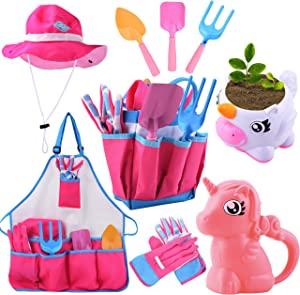 JOYIN Unicorn Kids Gardening Tool Set Toy Includes Unicorn Watering Can & Planter, Sun Hat, Gloves, Apron and Kids Gardening Kit Like Shovel, Rake and Trowel, Outdoor Play Gardening Gifts for Girls