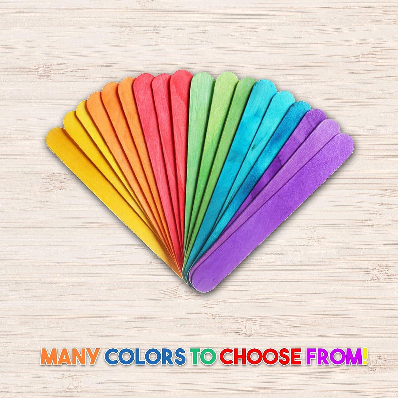 300 B/âtons Lolipop Multicolore pour loisirs cr/éatifs en bois naturel 150 mm x 20 mm