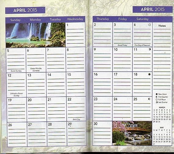 Waterfalls - 2015 - 2016 2 Year Monthly Planner - Calendar - Agenda - Appointment Book Organizer + Free Bonus 2015 Magnetic Calendar